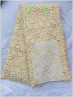 New Arrival High Quality Cream Color African Cord Lace Fabrics African Mesh Cord Lace Guipure Lace