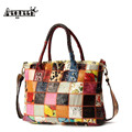 AEQUEEN Genuine Leather Handbags Women Patchwork Crossbody Bags Ladies Sheepskin Casual Totes Shoulder Bags Random Color