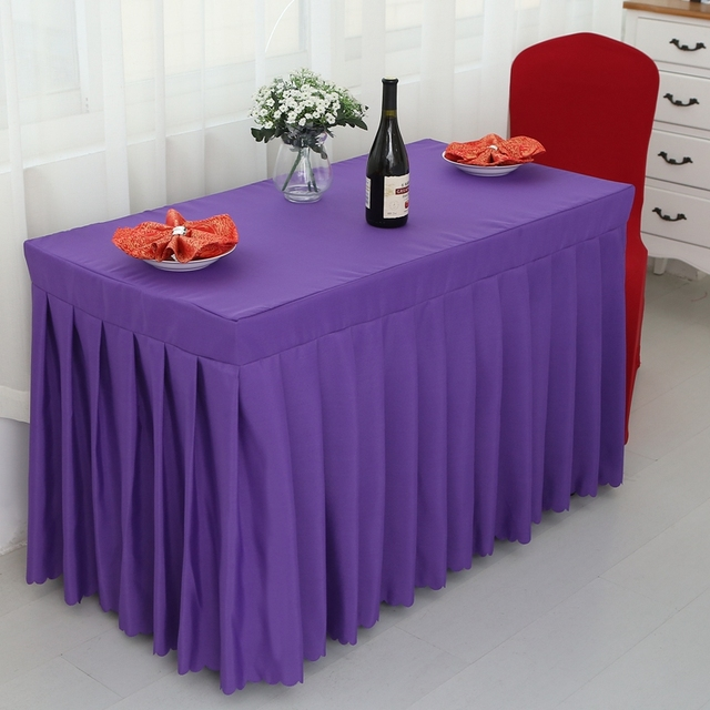 Purple Rectangle Small Polyester Jacquard Hotel Restaurant Tablecloths  Wedding Table Skirt For Sale
