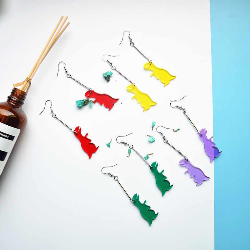 2019 Retro Hàn Quốc Đơn Giản khủng long acrylic động vật clip tai tính cách hài hước hình học vòng bông tai không đối xứng phụ nữ đồ trang sức