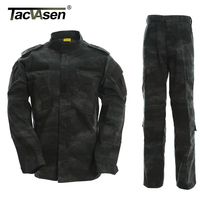 LE Black Camouflage Army Clothes Tactical Uniform Military Combat Uniform Tactical Coats Pants Men S Hunting