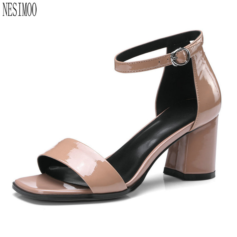 NESIMOO 2018 Fashion Women Sandals Shoes Woman Leather High Heel Classic  Pink Ladies Wedding Shoes Size 34-42 1edf4486a7c7