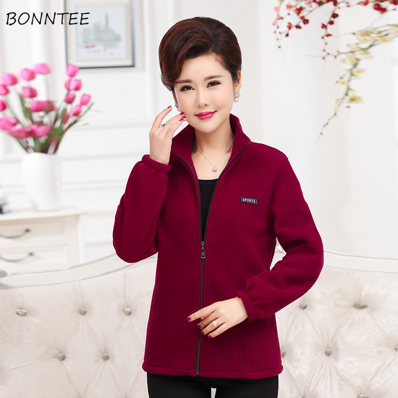 Hoodies Women Elegant Large Size Warm Soft Slim Leisure Womens Sweatshirts Korean Style Solid Pockets Zipper Long Sleeve Ladies
