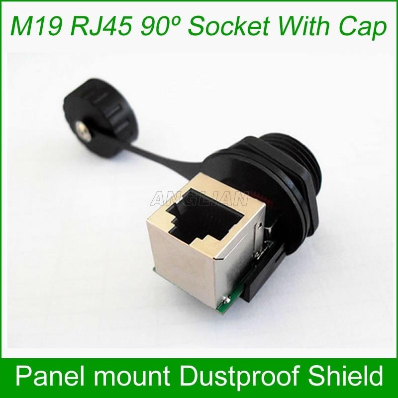 90 degree waterproof RJ45 female connector 8P8C Female network cable Socket M19 Front panel mount Dustproof