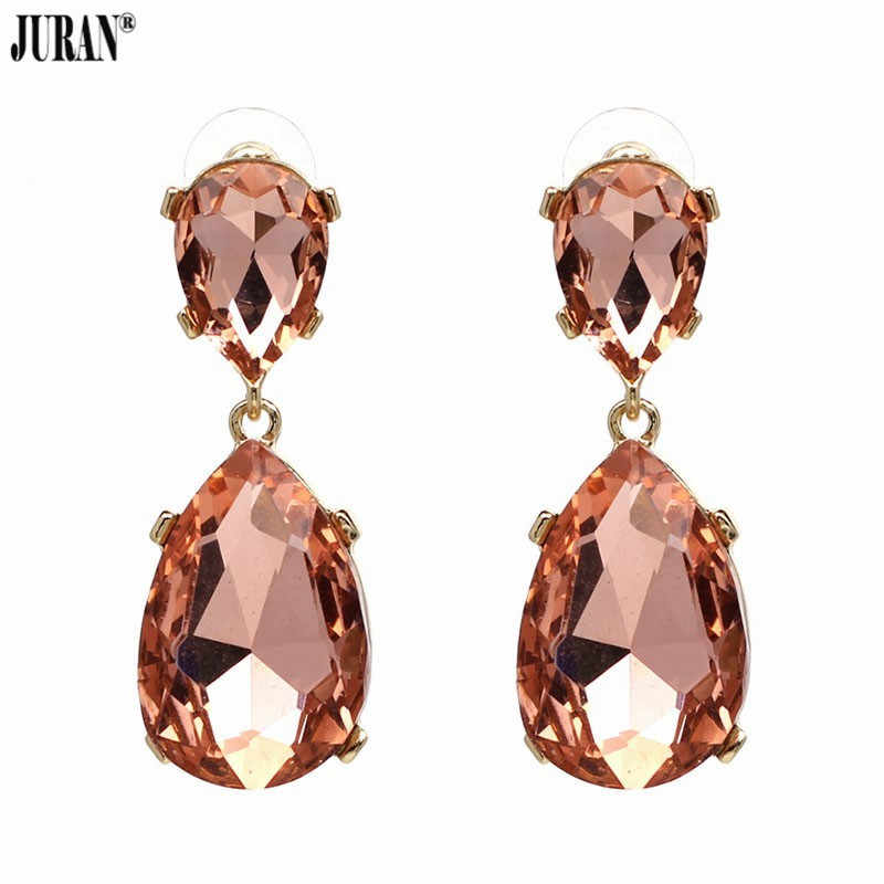 JURAN New Exquisite Full Crystal Drop Dangle Earrings Shiny Water Drop Brincos Rhinestone Fashion Maxi Statement Party Jewelry