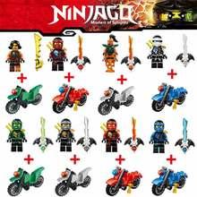 2 Stks / sets Ninja Motorfiets Bouwstenen Bricks speelgoed Ninja voor kinderen geschenken Ninja Kai Jay Zane Cole Lloyd Carmadon Met Tornado