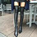 Women Stretch Leather Fur Thigh High Boots Sexy Fashion Over the Knee Boots High Heels Woman Shoes Black