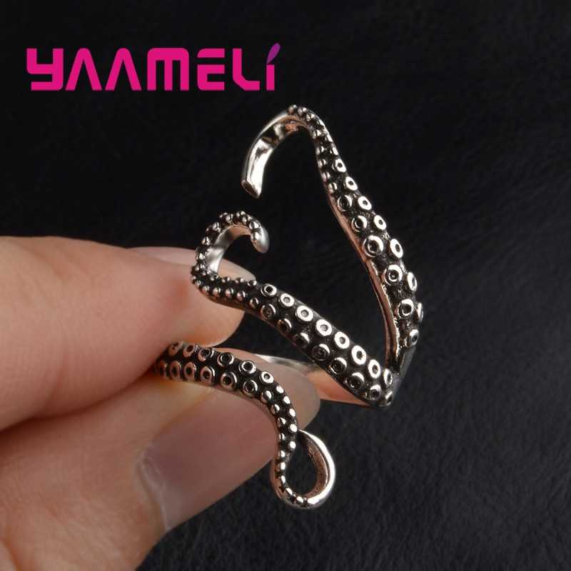 Estilo punk legal homem titânio aço gótico profundo mar lula octopus dedo anel moda jóias aberto tamanho ajustável