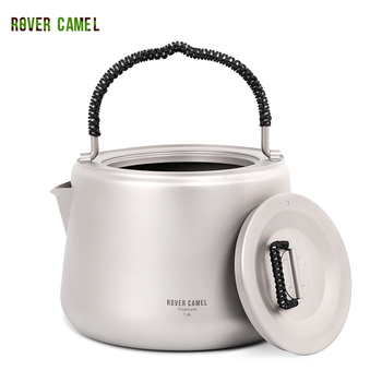 Rover Camel Portable Titanium 1.4L Outdoor Camping Heating Water Kettle Tea Coffee Pot portable 0 8l outdoor hiking camping water kettles teapot coffee pot travel houseused hot water kettle