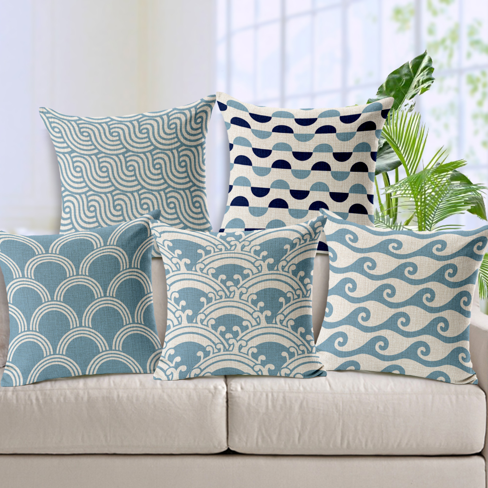 Shop home decor chevron stripes pillow from shop home decor - Free Shipping Light Blue Chevron Linen Cotton Cushion Wave Pattern Home Decor Pillow Decorative Throw Pillows Sofa Cushions