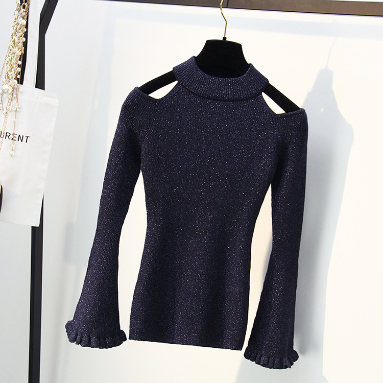 New Shiny Lurex Autumn Spring Basic Sweater Women Fashion Korean Style Knitted Chic Sweater Female Long Sleeve Pullover Tops 362