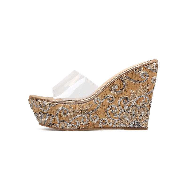 Womens Wedge Platform Sandals Summer Style PVC Transparent High Heels Sandals Embroidered wedges Shoes Fashion Boho Shoes 12cm in High Heels from Shoes