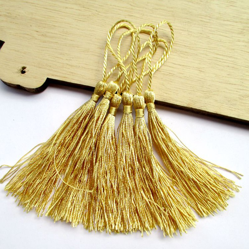 100pcs about 12.5cm golden polyester charm tassel home curtain accessories in ad