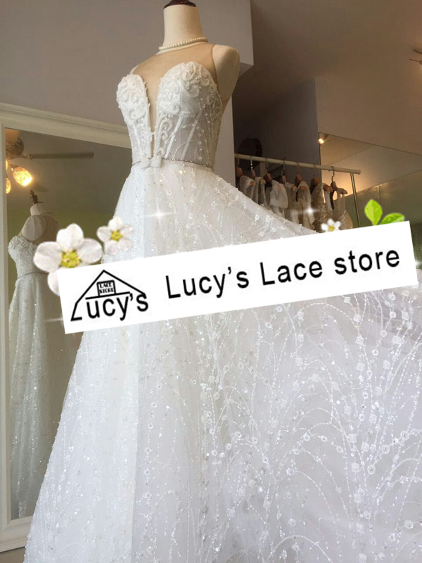 1 Yard Shiny sequins lace fabric ivory wedding lace material tulle ...