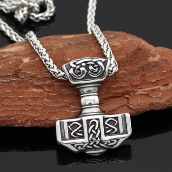 316L Stainless Steel Norse Viking Thor's Hammer MJOLNIR Pendant Necklace  Viking Necklace