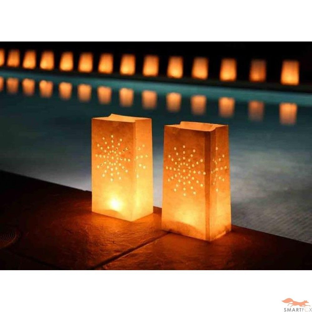 Candle Bags 20pcs Sunburst Firework Paper Lanterns Tea Light Holder Luminaria For Wedding Bbq Christmas Party Decorati In Gift Wring