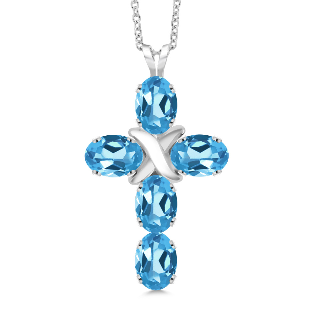 Gem Stone King Sterling Silver Created White and Blue Sapphire Heart MOM Pendant on 18inches Chain