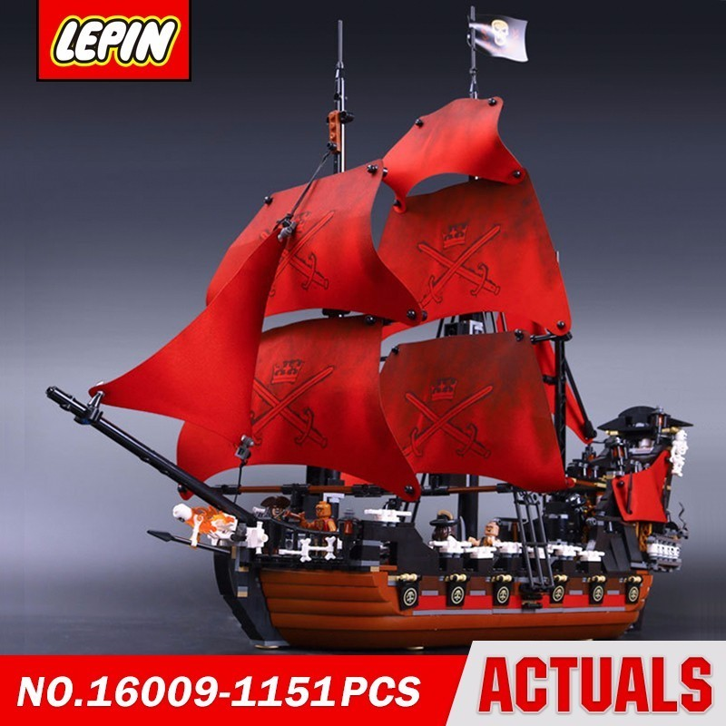 Lepin 16009 Queen Anne's Revenge Pirates Of The Caribbean 4195 Movie Series Model Building Block Brick Kits Compatible Gift lepin 16009 caribbean blackbeard queen anne s revenge mini bricks set sale pirates of the building blocks toys for kids gift