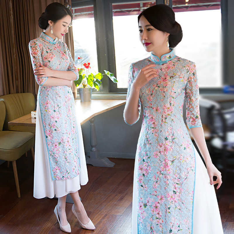 Traditional Chinese Dresses Slim Cheongsam Chinese Style Long Dress Qipao Summer Flowers Vintage Dress Oriental Robes fashion summer style kids baby girls peacock dress cheongsam chinese qipao floral pattern dresses