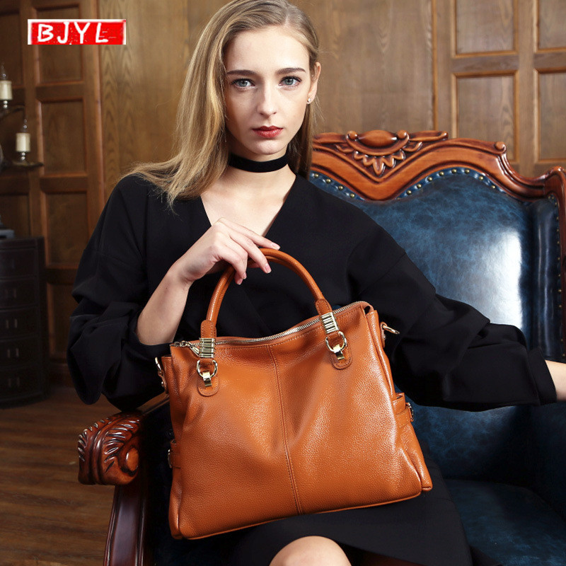 BJYL New Genuine Leather Women Briefcase Soft Cowhide Leather Shoulder Bag 14