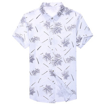купить 4XL Plus Size Men Short Sleeve Shirt Summer Brand Male Printed 100% Cotton Shirt Turn-down Collar Causal Dress Camisa Masculina дешево
