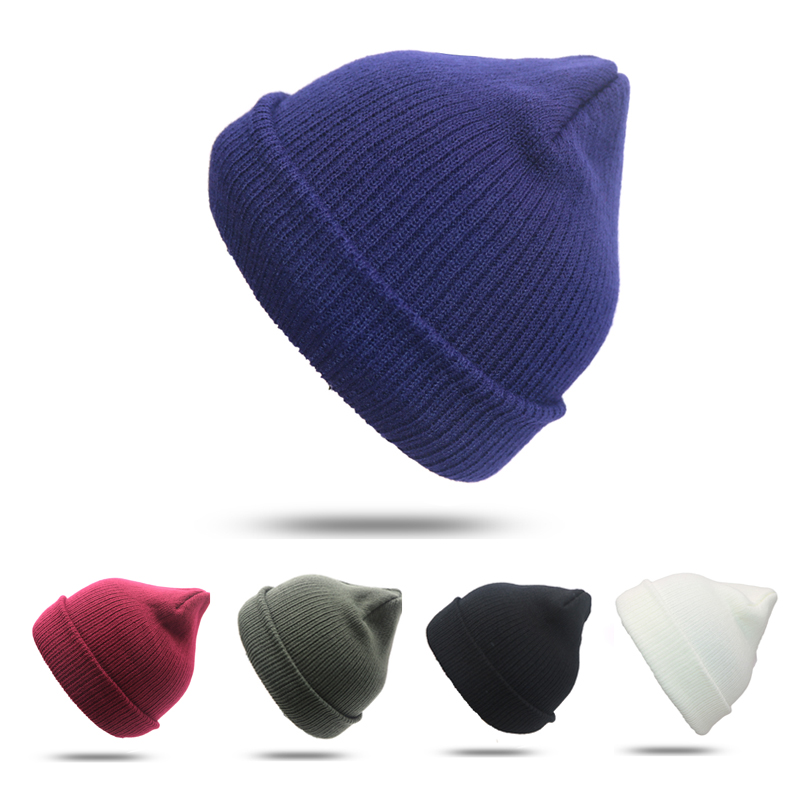 где купить Women Men Unisex Knitted Winter Cap Casual Beanies Solid Color Hip-hop Snap Slouch Skullies Bonnet Beanie Hat Gorro Bonnet Femme по лучшей цене