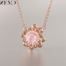 ZEMO Fashion Rose Gold Flower Pendant Clavicle Necklace Female Shinning Pink Zircon Charm Necklaces Chain collier Womens kolye