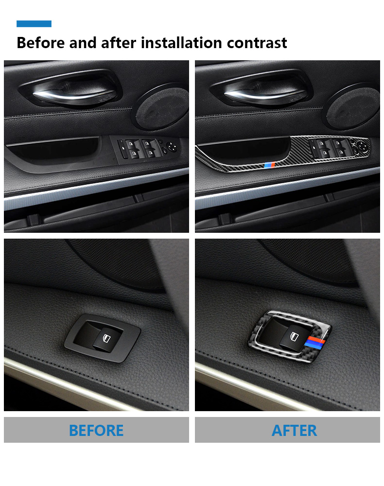 BMW 3 Series E90 E93 Accessories LHD Car Interior Carbon Fiber Door Window Switch Panel Cover Trim Car Styling (4)