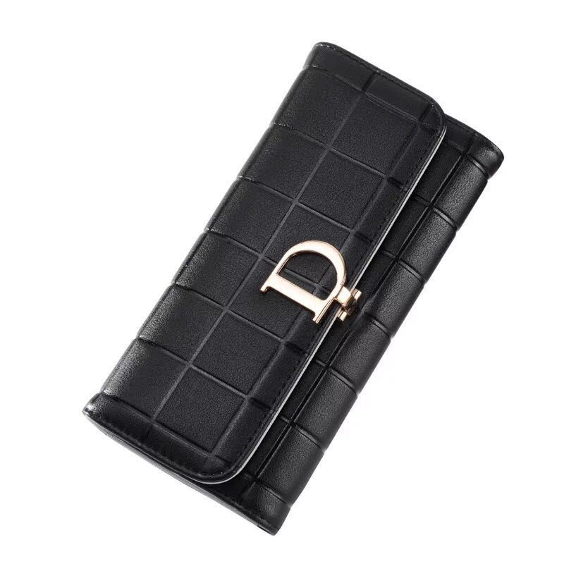 8f0658e4388 2019 Fashion women Leather Purse Plaid Wallets Long Ladies Wallet Red  Clutch Holder Coin Bag Female Wallet Girl-in Wallets from Luggage & Bags