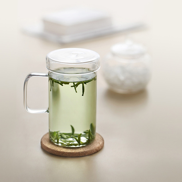 New Heatproof Vatiri Clear Gl Mug 400ml W T Lid Coffee Tea Cup Office Drink