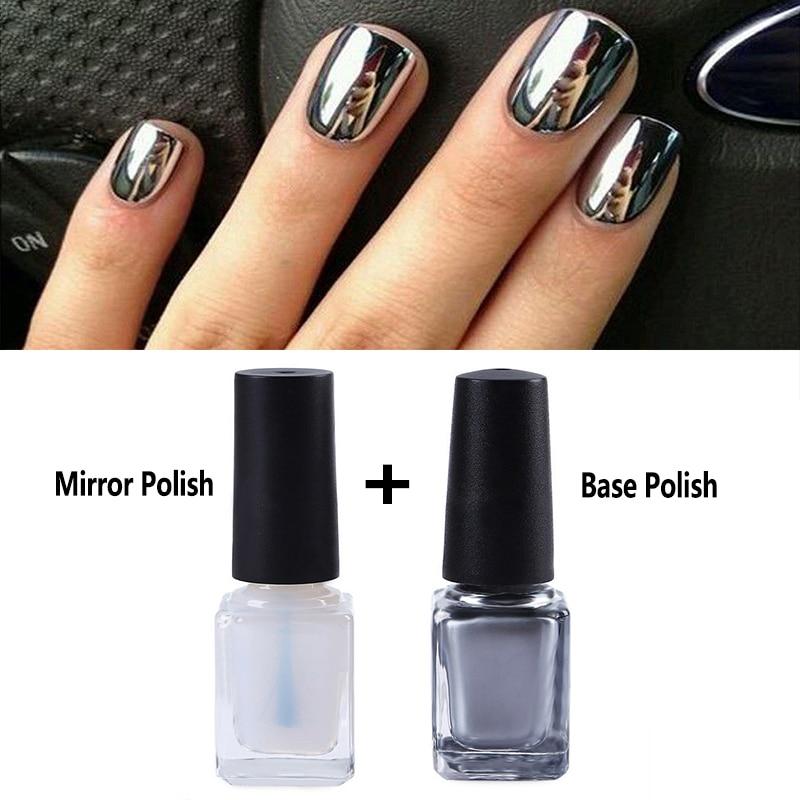 2pcs Silver Metal Mirror Nail Polish Chrome Pigment Nail Art Polish Decoration Varnish + Nail Base Coat DIY Nail Tools nail polish