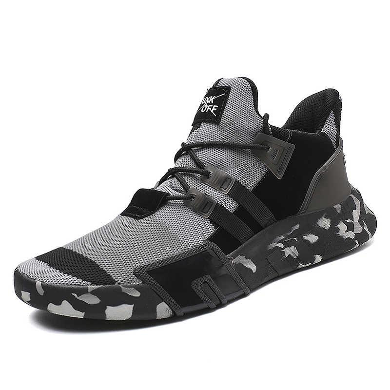 2019 novos homens sapatos casuais moda preto branco esporte sapatos masculinos respirável legal sapatos planos do homem leve tênis ao ar livre