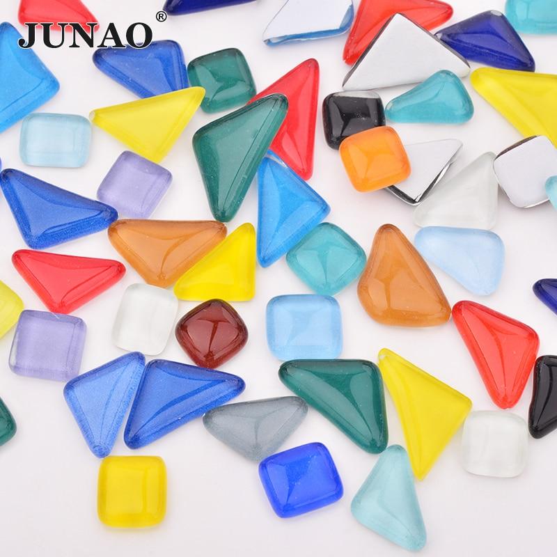 JUNAO Mix Color Glass Mosaic Tiles Mosaic Stones Glass Pebbles Children Puzzle Art Crafts Material DIY Mosaic Making 20pcs