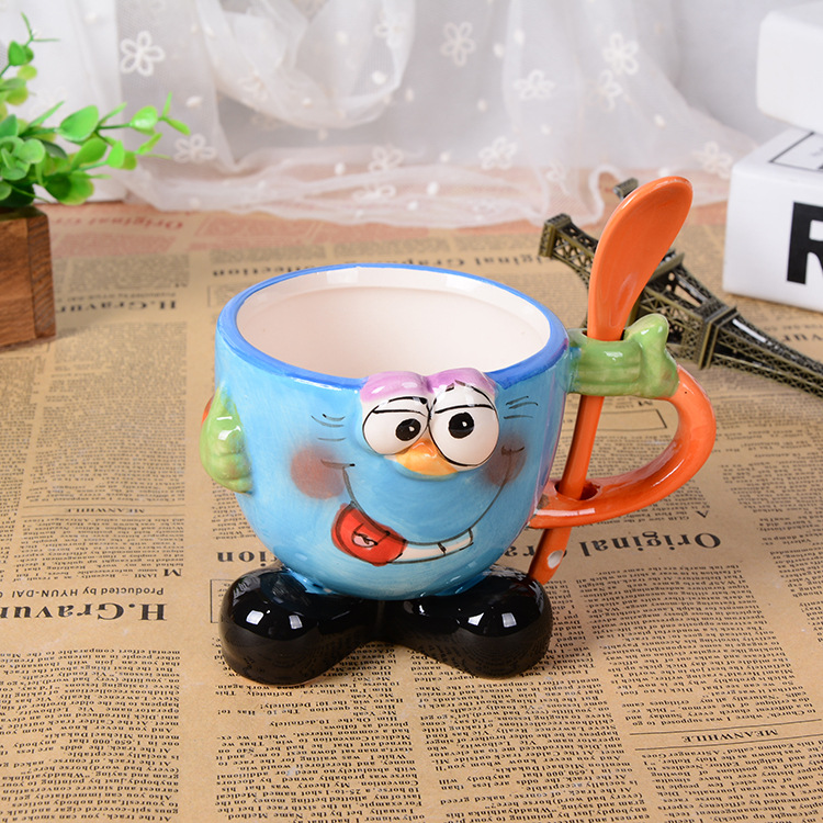 3D stereo creative hand painted cartoon mug with spoon office large ceramic cup children drinkware font