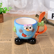 3D stereo creative hand painted cartoon mug with spoon office large ceramic cup children drinkware Christmas lovers gift