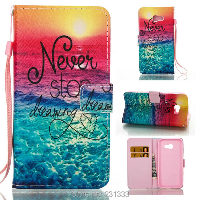 Strap Wallet Leather Pouch Case For Samsung Galaxy 2017 A5 A3 J3 Prime J5 J7 Skull Flower Butterfly TPU Stand ID Card Cover 1pcs