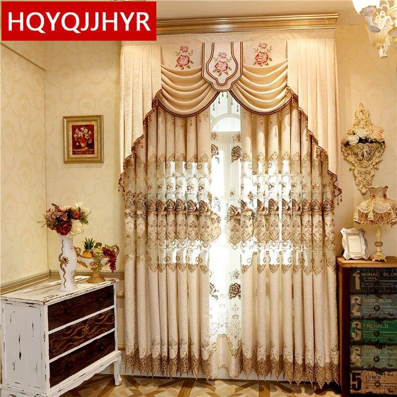 Europski i američki stil luksuzne vezene zavjese u visokoj nijansi za spavaće sobe visokokvalitetnih jacquard zavjesa za dnevni boravak