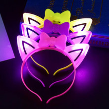 Led Headband Cat Ears Head Wear Light Up Toys For Kids Wedding Party Supplies Led Birthday Christmas Decoration(China)