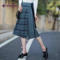 Life In The Left 2018 Vintage OL Skirts Elegant High Split Office Work Formal Chic Irregular Striped Women All match Skirts