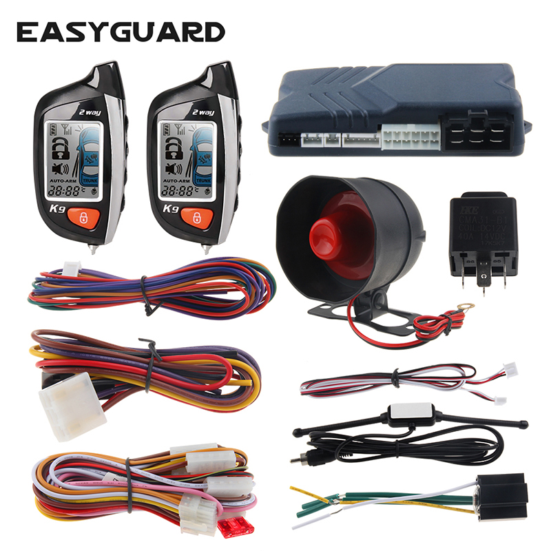 EASYGUARD 2 way car alarm security system remote engine start timer engine start shock sensor warning LCD display anti theft цена 2017