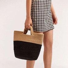 Women Handbag Summer Beach Bag Handmade Rattan Woven Knitted Rivets Large Capacity Totes Bohemia Straw Women Shoulder Bag New