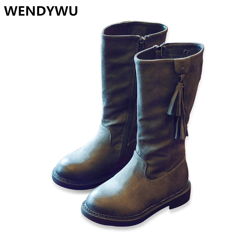 2107 Hot winter children fashion tassel shoes for baby girls knee high boots toddler genuine leather boots kids warm boots купить цепь и звезды ваз 2107
