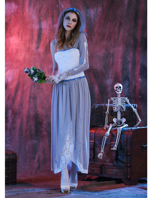 MOONIGHT Ghost Bride Dress Sexy Gothic Manor Zombie Wedding Corpse Costume Adult Costume Halloween 4