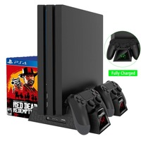 Vertical Stand PS4/PS4 SLIM/PS4 PRO w/ Cooling Fan Dual Controller Charger Dock Station LED Indicators for Sony PS4 Game Console