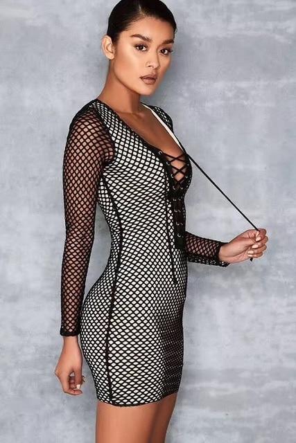 771a1a693 € 34.43 |Femmes mode noir moulante robe maille Sexy à manches longues  nouveau Style 2017 Cocktail dames été Mini robe dans Robes de Mode Femme et  ...