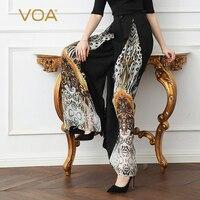VOA шелк жоржет вышивка широкие штаны для женщин; Большие размеры 5XL длинных брюк принт Повседневное Boho Высокая талия черный основные K125