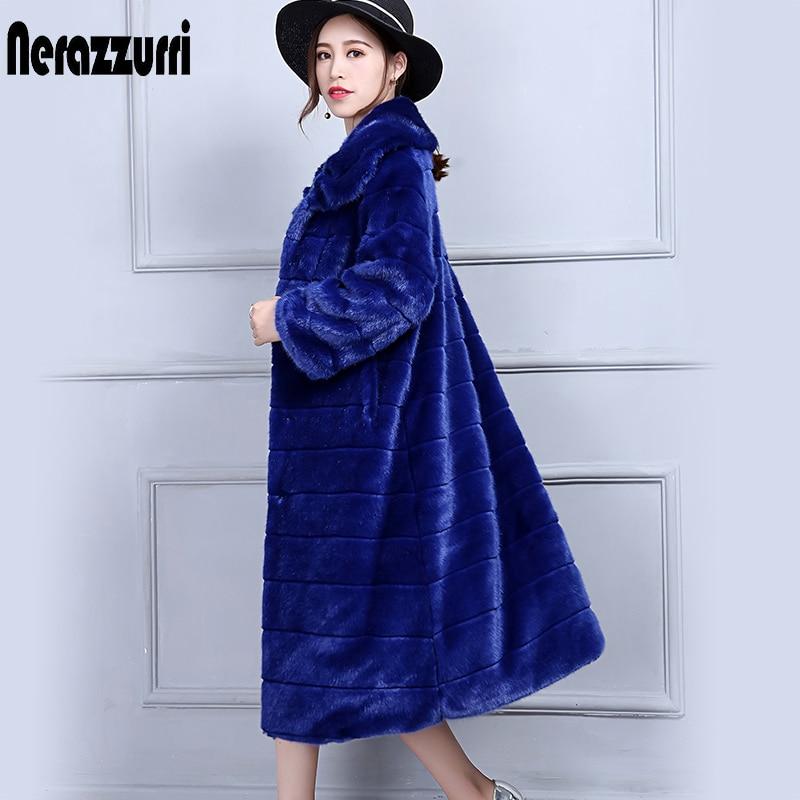 Nerazzurri de abrigo de piel las mujeres manga larga azul Furry esponjoso caliente falso Piel de visón abrigo Plus tamaño abrigo 5XL 6XL de alta calidad