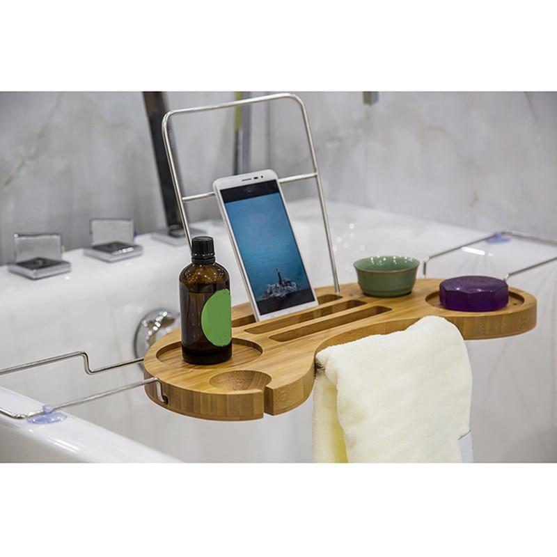 Bathtub Caddy Bamboo+Stainless Steel Storage Shelf Holder Over Bath ...