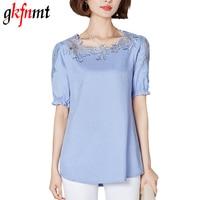 Gkfnmt Chemise Femme Plus Size 4XL Lace Blouse Shirt Linen Women Tops Short Sleeve Blusas Camisas