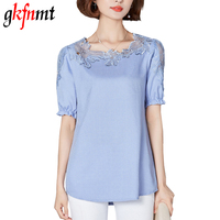 Gkfnmt Chemise Femme Plus Size 4XL Lace Blouse Shirt Linen Women Tops Short Sleeve Blusas Camisas